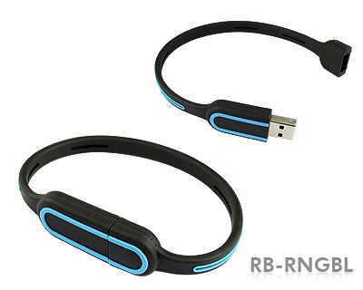 Stick USB Bratara Negru cu Albastru